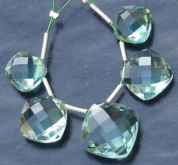 5 Pcs Set, GREEN AMETHYST Quartz Faceted CUSHION Shaped Briolettes,12-16mm Long, 2 Pairs and 1 Focal,Great Item