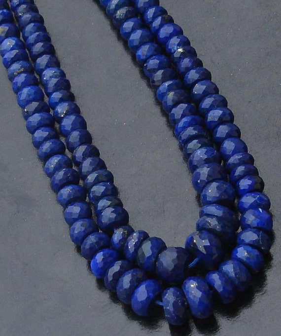 8 Inch Long Strand-Super-FINEST Quality, LAPIS LAZULI Micro Faceted Rondells, 5-8MM Size ,Great Price Item