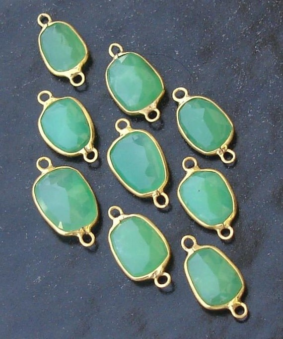 5 Pieces,925 Sterling Silver, CHRYSOPRASE, 24K Gold Plated Connector,FIVE Pieces of 13-16mm