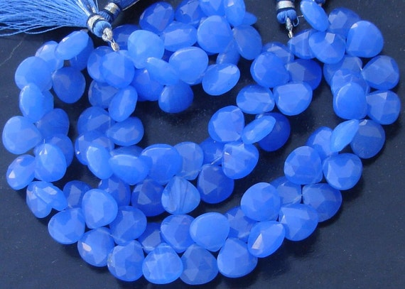 New Stock, AAA Quality, 6 Inches Strand, COBALT Blue Chalcedony Faceted Heart Briolettes,10-11mm Long size,GORGEOUS.