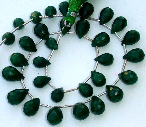 8 Inch Full Strand, AAA Quality Unique NATURAL Green Emerald Faceted Drops Shape Briolette, 9-12mm,Great Value Item