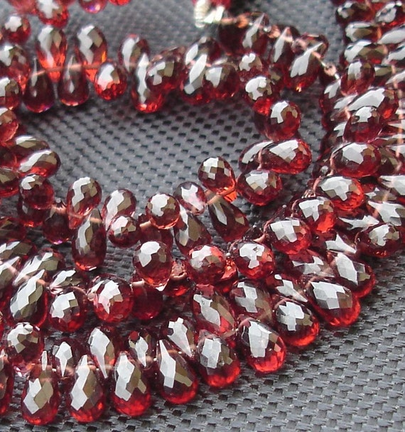 8 Inches, 100 Cts,SUPERB Very- Very-Finest AAAAA Quality, PYROPE Red Garnet Faceted Drops Briolettes, 6-7mm aprx.