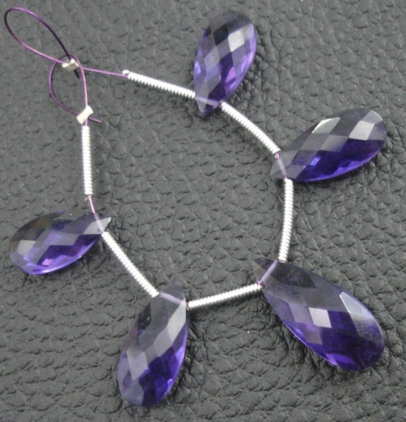 5 Pcs Set, PURPLE Quartz Faceted Pear Shaped Briolettes,14-20mm Long, 2 Pairs and 1 Focal,Great Item