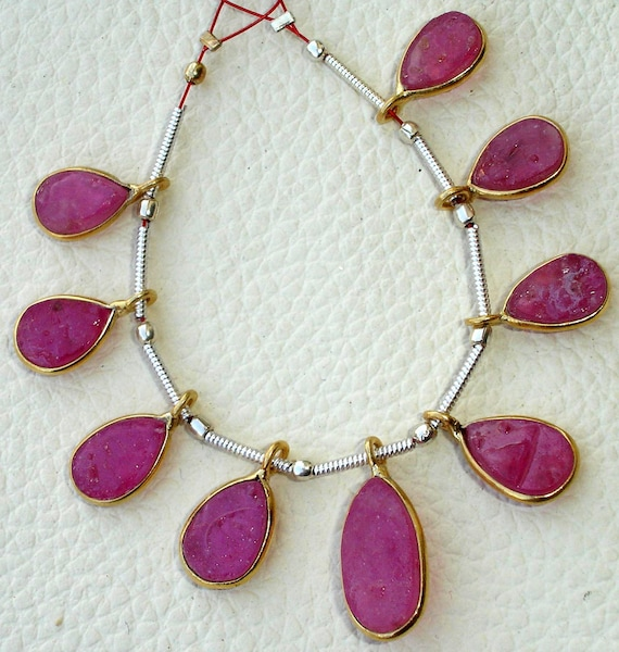 9 Pieces, HAMMERED PINK SAPPHIRE Pear Shape, 24k Gold Plated Bazel Pendent Connector, 12-16mm size,Superb-Finest