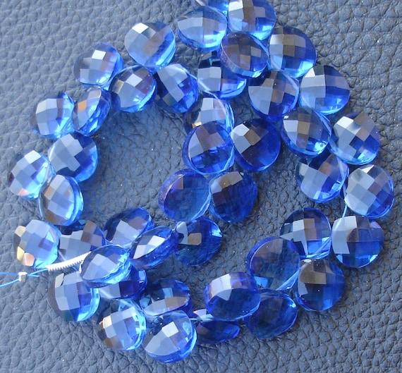 1/2 Strand,SUPERB Finest KASHMIR BLUE Quartz Faceted Heart Shape Briolettes,8-9mm size,Amazing
