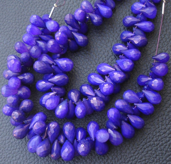 Brand New, 6 Inches Strand, Rare Amethyst Purple Chalcedony Faceted DROPS Briolettes,9-12mm Long size,GORGEOUS.