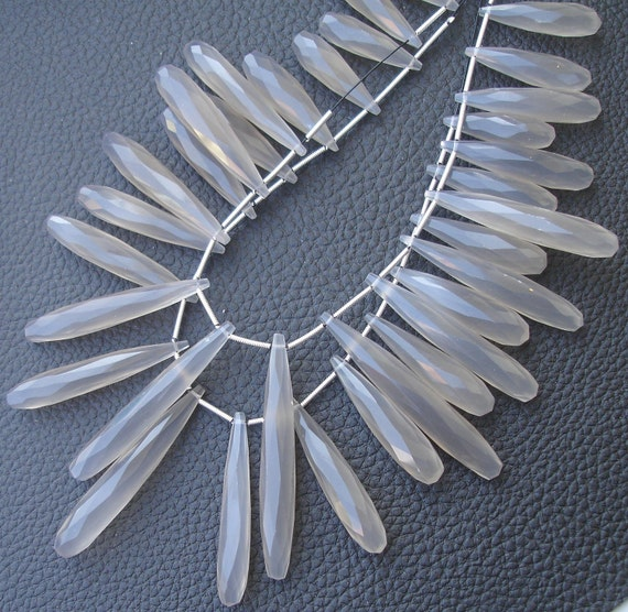 10 Inch Long Strand, 30-35mm Long, GREY Chalcedony Elongated Drops Shape Briolettes,Superb-Finest Quality