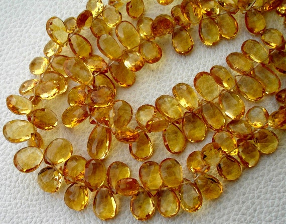 GIANT Size, 8.5 Inch, SUPERB Very-Finest Quality, Citrine Faceted LARGER Size Pear Briolettes, 10-12mm aprx.Super Fine Citrine Ever seen