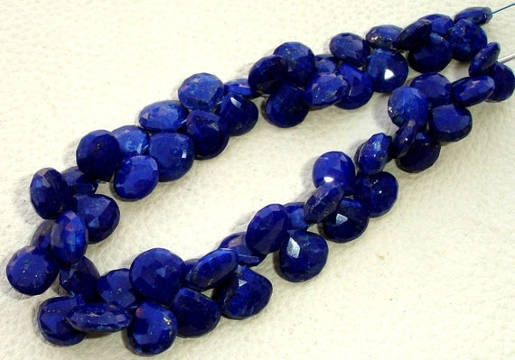 8 Inch Full Strand, Lapis Lazuli Faceted Heart Briolettes,(Size 9-11mm approx),Great Quality at Low Price