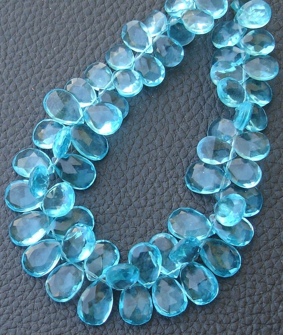 New Arrival, 1/2 Strand, SKY BLUE QUARTZ Quartz Faceted Pear Shape Briolettes, 10-12mm size,Superb Item at Low Price