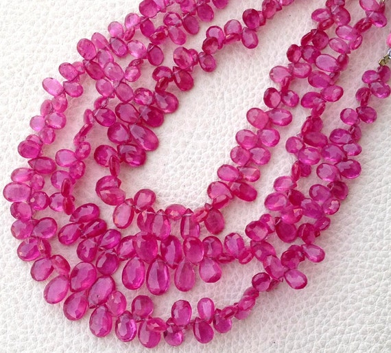 Superb-1/2 Strand, AMAZING PINK SAPPHIRE Faceted Pear Shape Briolettes, 6-9mm long aprx, Finest Pink Sapphire