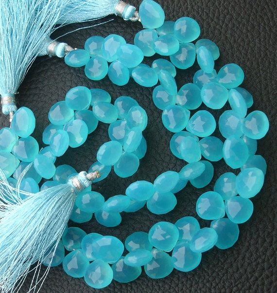 New Stock, 6 Inches Strand, SWISS Blue Chalcedony Faceted Heart Briolettes, 10-11mm Long size,GORGEOUS.