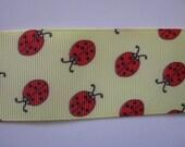 1 1/2 inch Wide Yellow Ladybug Grosgrain Ribbon 3 1/2 yards