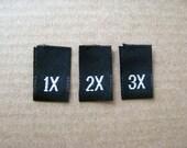 50 Plus Size Black Woven Labels Size Tags Tabs U Choose Size 1X 2X 3X