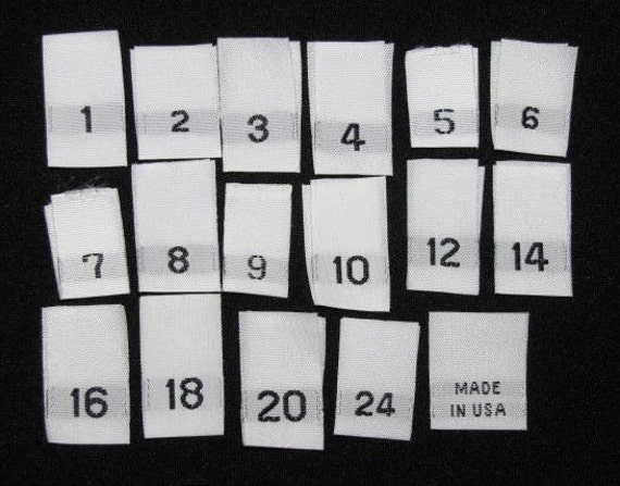 50 Woven Labels Size Tags U CHOOSE Sizes 1 2 3 4 5 6 7 8 9 10 12 14 16 18 20 22 24 Made in USA