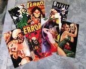 Set of 8 Pinup Horror Vintage Magnet Pack Set of 8 Comic Book B Movies