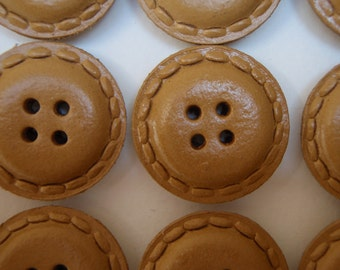 24 Leather Buttons Natural 23mm Vintage 1950s