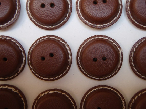 24 Leather Buttons Chocolate Brown 21mm Vintage 1950s