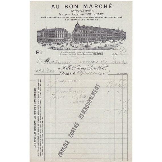 PARIS FRANCE 1909 Invoice Au Bon Marche