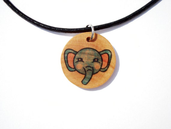 Wood Elephant Necklace- Pendant on a Leather Cord - bottle cap alternative- kawaii