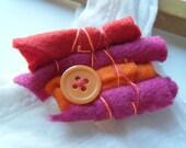 Brooch Felt Pink, Orange, Red Button