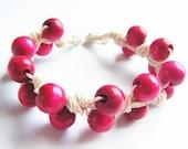 Bracelet Red Wood Natural String