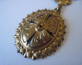 Victorian Revival Enamelled Pendant with Textured Chain