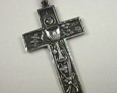 Vintage Chalice & Sacred Heart Cross - Sterling Silver from Mexico Unisex