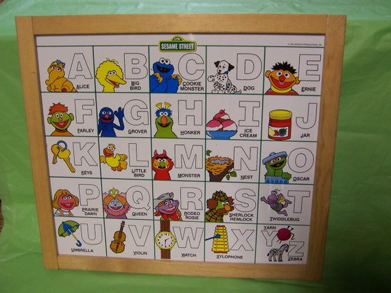large vintage Sesame Street double sided activity board - wall art room decor 15x17