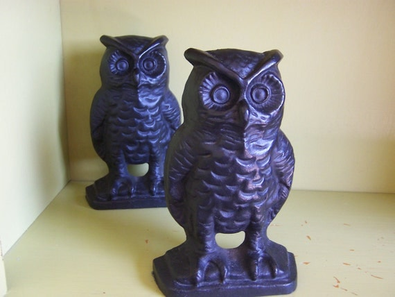 pair of 2 vintage cast iron owl bookends - EMIG 1546