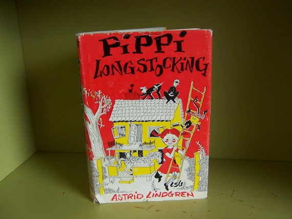 Pippi Longstocking - the original storybook by Astrid Lindgren - 15th printing 1967 red and yellow dust jacket / gray hardcover