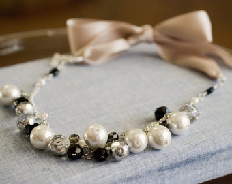 Pink ribbon necklace - white pearls, silver and black crystals (Sale)