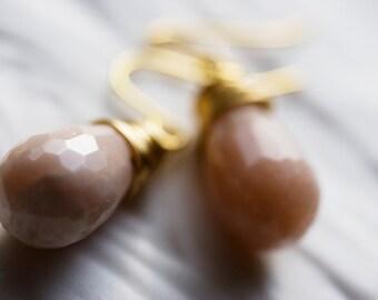 Earrings - pink sun stones & gold (Sale)