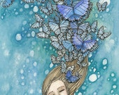 Art Print Reproduction 5x7 - Blue Butterflies