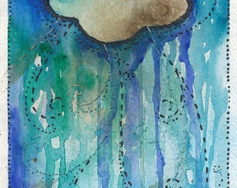 Original Art Watercolor Painting - Cloud