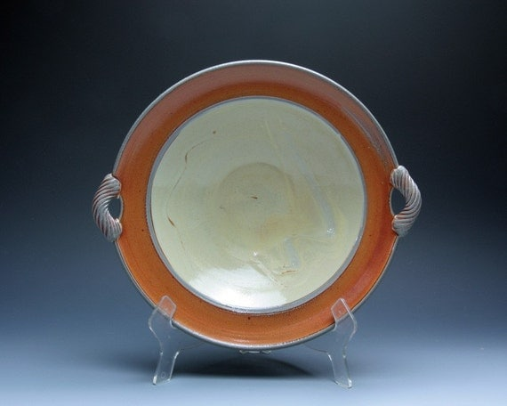 Soda Fired Shallow Serving Bowl