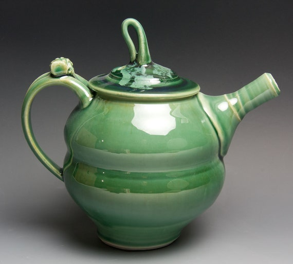 Reserved for Bill - Jade green porcelain two cup personal teapot - 295