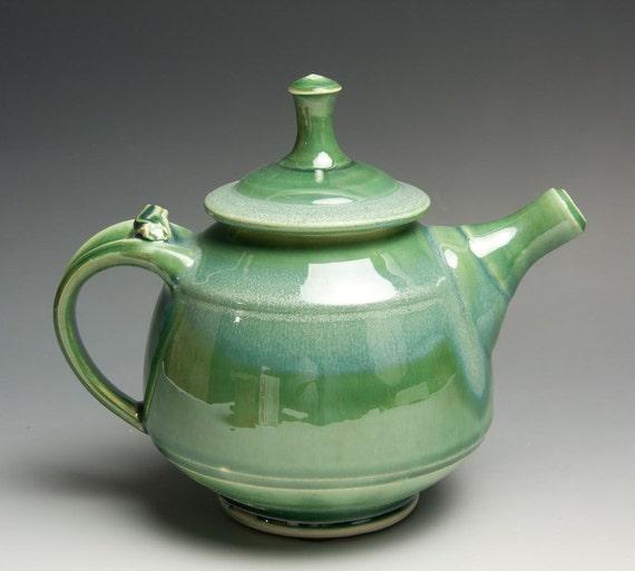 Reserved for Ritva - Handmade jade green porcelain two plus cup teapot - 424