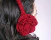 Crochet Winter Flower Ear Muffs in red color