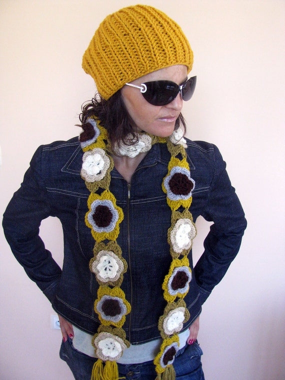 NEW - Colorful Hand Crocheted Fall Flowres SCARF