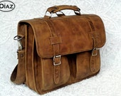 Large Geunine Leather Messenger Briefcase / Backpack Laptop Bag Texas Light Brown - (17in MacBook Pro) - Free Shipping