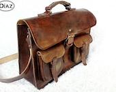 Dark Brown Rawhide Leather Messenger Laptop Satchel Bag BBC2BC