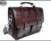 DIAZ Medium Leather Mess-enger Briefcase / Backpack Laptop Bag in Antique Dark Brown - (15in MacBook Pro)