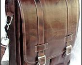 Large Geunine Leather Messenger Satchel / Backpack Laptop Bag in Antique Dark Brown - (17in MacBook Pro)