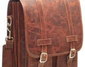 DIAZ Large Geunine Leather Satchel / Backpack Laptop Messenger Bag Briefcase in Crazy Horse Dark Brown - (17in MacBook Pro)