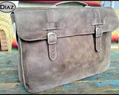 Small Leather Portfolio / Laptop Bag  in Texas Brown - (13in MacBook Air / Pro) - Free Monograming  -
