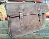 Large Leather Portfolio / Laptop Bag  in Texas Dark Brown - (17in MacBook Air / Pro) - Free Monograming  -