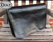 DIAZ Large Cross Body / Shoulder / Messenger Leather Bag / Satchel in Genuine Black Leather
