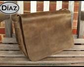 DIAZ Large Genuine Leather Messenger Bag / Satchel in Texas Dark Brown - Free Monogramming -
