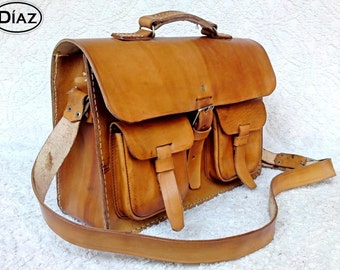Light Tan Brown Rawhide Leather Messenger Laptop Satchel Bag  BBC2BG